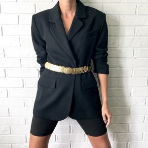 Vintage black wool oversize blazer jacket coat 9